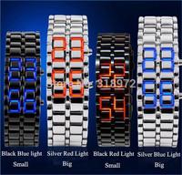 2014 New Fashion Men Women Lava Iron Samurai Metal LED Faceless Bracelet Wristwatch Stainless Steel good Item for Gift 10pcs/lot