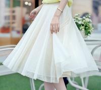 Pleated chiffon skirts womens midi tulle skirt female
