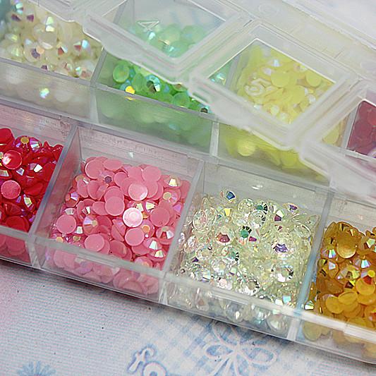 2400pcs/box,3mm Rhinestone Mix Jelly AB Colors rhinestones Nail art Deco Glitters Gems stones and rhinestones 11006(China (Mainland))