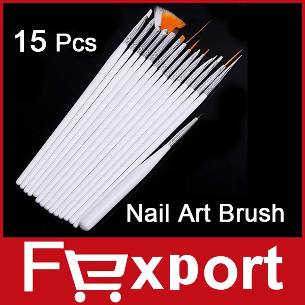 15 pcs Nail Art Decorations Brush Set Tools Professional Painting Pen for False Nail Tips UV N