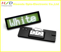 White LED name badge sign board /scrolling message advertising display business card tag/USB Rechargable Programmable 12*48 dots