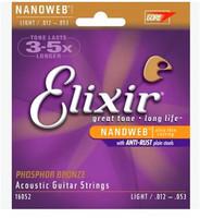 3 sets Elixir 16052 Nanoweb ultra thin coating Acoustic guitar strings Light .012--.053 Freeshipping