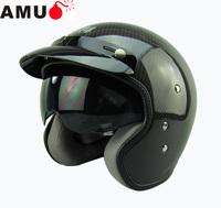 Free shipping/Motorcycle helmet/Carbon fiber material Jet helmet/ retro 3/4 half helmet/ helmet with inner visor/ MOMO style