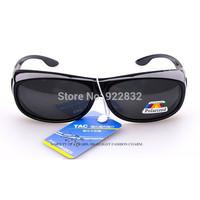 HOT SELL SUNGLASSES FOR GLASSES  Polarized Sunglasses put/cover/wear over  glasses,fit Driving,Fishing-Black Frame Grey Lens