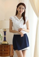 2014 Spring Summer New Women Clothing Casual Lace Ruffle Short Sleeve Chiffon Blouse & Shirt Office Lady Formal Top b26 SV003844