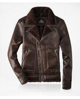 Men's Free Shipping Leather Motorcycle Jacket Genuine Berber Fleece inside velvet Turn-down Fur Collar Sheep Leather Coat