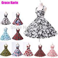 Vivid Cotton Summer Women Vintage Dress 50s 60s Retro Pinup Swing Floral Print Ball Prom vestidos Evening Party Dresses CL6075