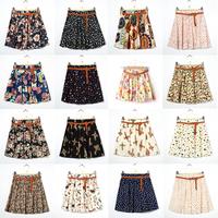 Women Vintage Pleated Elastic Waist Skirts Floral Chiffon Short Skirt Pants Mini Dress Freeshipping