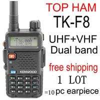 kendio tk-f8 th f8 tk f8 walkie talkie two-way radio uhf vhf dual band portable amateur radio tranceiver earpiece  1lot a 10pcs