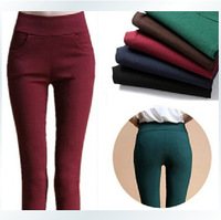 Free shipping  Chromophous 2014 backwa-rds and pocket 100% cotton elastic pencil pants candy color legging pants