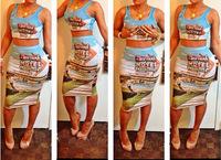 New Fashion Sexy Women Bodycon Bandage  Celebrity Print Club Party