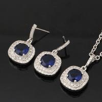 18K Gold Plated 1.25CT AAA+ Swiss Royal Blue CZ Diamond Trendy Jewelry Cubic Zircon Pendant Earrings Jewelry Sets For Women S278