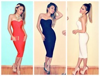 Free shipping 2014 new arrival high quality white strapless knee length  bandage Celebrity dress Party Evening Dresses HL