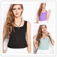 14 Colors Summer 2014 candy color sleeveless chiffon vest ladies Women's Fashion Plus Size strap chiffon shirt shirt Tank Tops