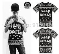 Asap rocky cashew flowers gothic letter gangsta male short-sleeve t-shirt