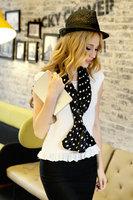 1PC 20*150cm Elegant  Design soft feeling  dot printing double layer satin silk scarf/WJ-122