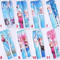 Wholesale Frozen Legging Children Girl's Frozen Pants Long Pants 2014 Popular Elsa & Anna Pants Kids Clothing Summer