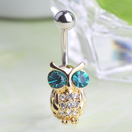 بروشات رقيقة Gold-Owls-Blue-Pierc