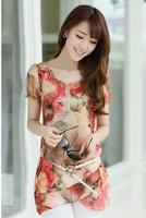 Novelty floral short sleeve women cotton chiffon blusas femininas shirt  2014 size M--XXXL