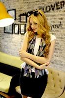 1pc 20*150cm Fahion Bohemian style big wave line Printed double layer satin silk scarf/WJ-130