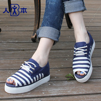 2014 summer stripe canvas shoes open toe fashion small fresh women's breathable shoes single shoes