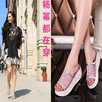 2014 Women slippers drag platform wedges slippers genuine leather sandals lady sandals,SHO2144