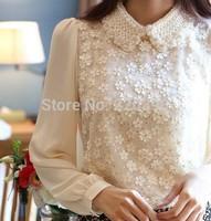 S-XL 2014 New Fashion High Quality Women Crochet Chiffon Shirt Long Sleeve Lace Blouse Large Size Lady Doll  Women Clothing 6002