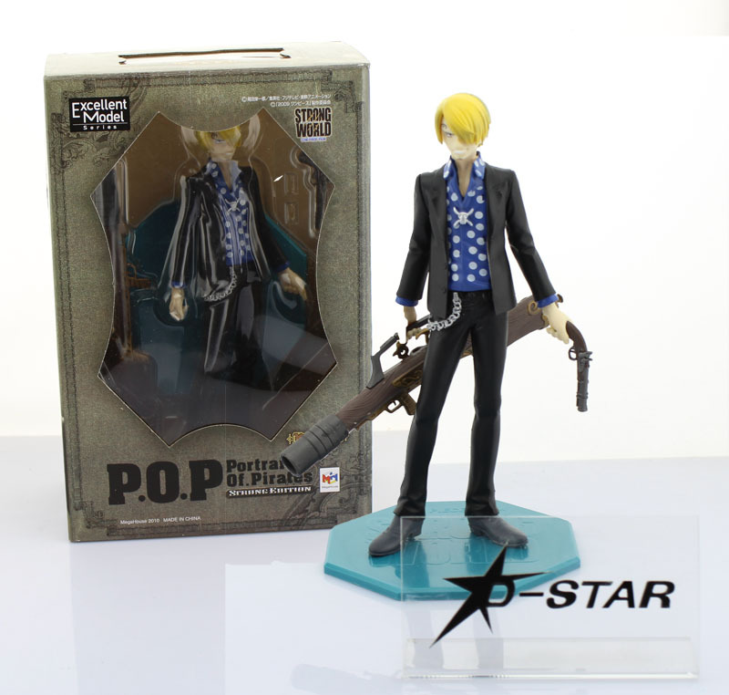 "Free Shipping Cool 9"" One Piece The Film STRONG WORLD P.O.P POP Sanji Gun Ver. Boxed PVC Action Figure Colletiion Model Toy Gift(China (Mainland))"