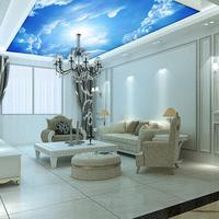 Custom murals, 3d blue sky ceiling wallpaper mural wall painting 3d ceiling Leather pattern wallpaper