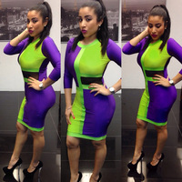 New Design Women Dress  Green and Purple Patchwork Colorful Spring Bodycon lady Dress Sexy Evening Clubwear Party Dress TB023