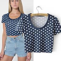 European & American Crop Top female tops women 2014 summer tshirt  cute dot print slim tight o neck short sleeve T-shirt S/M/L