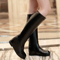 Big size 34-43 Vintage Winter Fashion Sexy Women knee boots botas Wedges Round toe Zip Platform Black White Eur34-39 QH3117