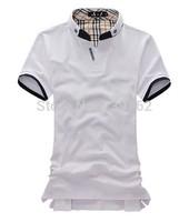 brand BOSINING summer men A+++ Quality collar short-sleeved t-shirt, solid color polo shirt, undershirt moisture permeability