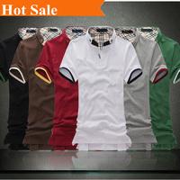 New Arrival high quality Tee T Shirts Embroidery Brand Men T Shirt Fashion lapel Shorts Sleeve Shirt size:M-XXL K808