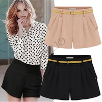 New 2014 summer chiffon shorts women black&pink&white S-XL plus size Chiffon loose pocket casual thin short pants B11 SV004884