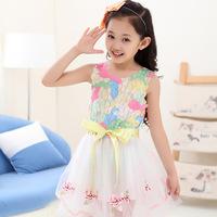 Kids girls summer sleeveless dress new colored gauze tank dress girls fashion dress children
