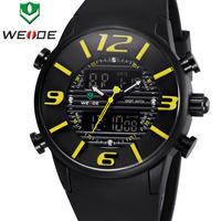 New Arrival WEIDE Men Military Quartz Watch Luxury Brand Rubber Strap 3ATM Waterproof Analog Digital Men Sports Watches