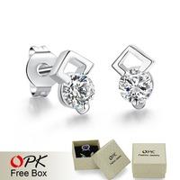 OPK JEWELRY Free Shipping Promotion Sterling Silver Plated AAA Cubic Zircon Stud Earring Luxury Wedding Jewelry, YE910
