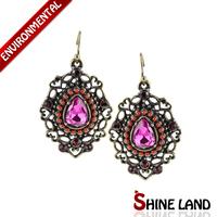 Antique Luxury Earrings Women Vintage Bronze/Silver Plated Big Shiny Crystal Rhinestone Statement Drop Earrings Ethnic Jewelry