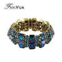 Luxury Blue Rhinestone Bronze Color Alloy Elastic Bracelets and Bangles New 2014 Summer Trendy Designer Bijoux For Women