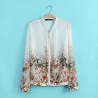 YG477-1 New 2014 Spring Flower Print Women Brand Coat Casual Jackets Sleeve Zipper Chiffon Coats UV-protection clothes