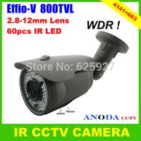 Super WDR Sony Effio-V 800TVL Cxd4141gg+663 OSD Menu Outdoor Weatherproof Security IR CCTV Camera