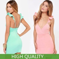 New Summer Casual Dress 2014 Women Clothing Plus Size Women Solid Party Dresses Flare Sleeveless Sexy Backless Bodycon Dress