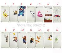 Cute Despicable Me Minion SpongeBob Mario Minions Mickey Frozen Olaf Transparent Hard Plastic Case For iPhone 4 4s 5 5g 5s 5c