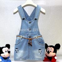 Baby Girls Denim Dress Girls Suspender Dress Overall Star Print Mini Dress Kids Fashion Clothing