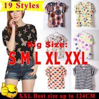 Quality Casual Blouse Shirt 19 Pattern Print Body Tops Summer Cheap Women Clothes Blusas Femininas Roupas Female Batwing Shirt