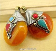 TBP702  Tibetan silver capped honey amber pendant Golden Fake Resin vintage drop pendant,Wholesale Tibet jewelry