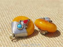 TBP702 Tibetan silver capped honey amber pendant Golden Fake Resin vintage drop pendant Wholesale Tibet jewelry