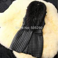 2014 new winter autumn women as Leather grass vest,Women Faux fur jacket,coats,women's fashion latest brand,woman long vest