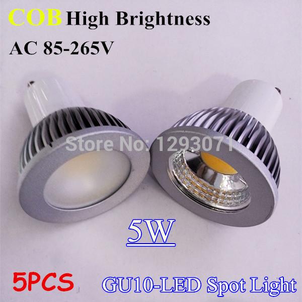 5x Dimmable GU10/GU5.3/E27/E14/B22/MR16 LED COB Spot Light Bulb 5W 380-450lm AC 85-265V Pure/Warm/Cool white 60 degree cover(China (Mainland))